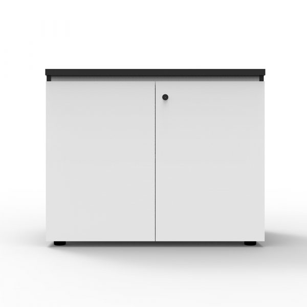 This Deluxe Infinity Swing 2 door cupboard is completely lockable and finished in a stunning laminate design with black trimming. Featuring a shark nose on the top door for easy opening.