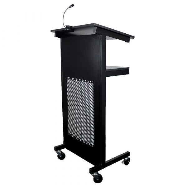 Heavy duty lectern beautifully finished in black steel. With lockable castors and melamine shelves, this multi function lectern is versatile and distinguished.
