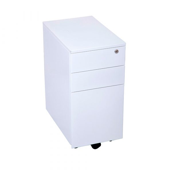 Clinical 3 draw mobile pedestal with locking functions, ball bearing runners and multi-use drawer functions.