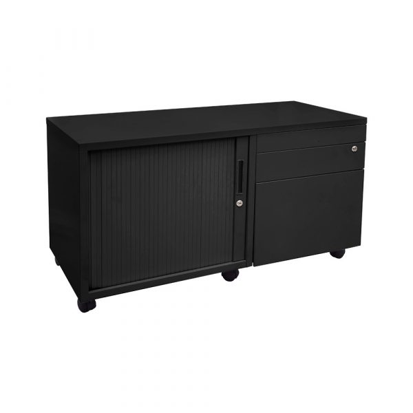 With a left hand tabour door and multiple draw options on the right, this storage unit is on wheels and is fully movable.
